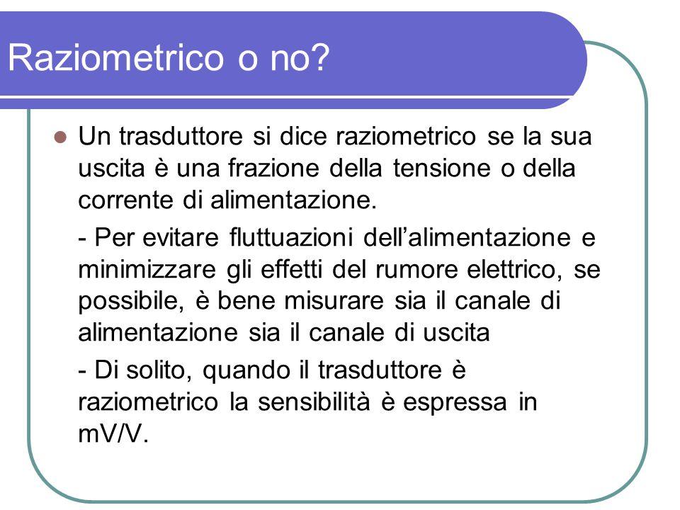 Raziometrico o no Un trasduttore si dice raziometrico se la sua uscita è una frazione della tensione o della corrente di alimentazione.