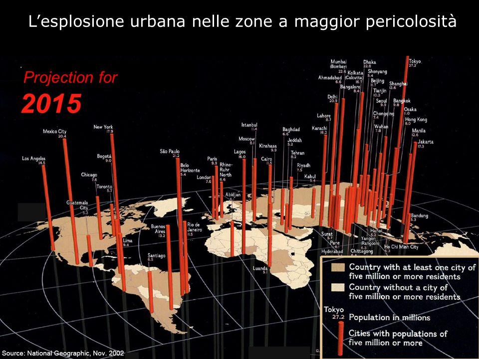 L'esplosione urbana nelle zone a maggior pericolosità