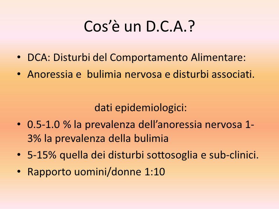 Cos'è un D.C.A. DCA: Disturbi del Comportamento Alimentare: