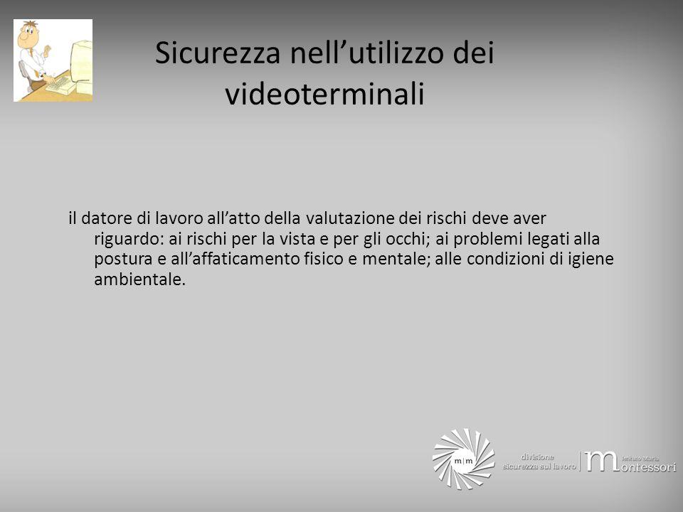 Sicurezza nell'utilizzo dei videoterminali