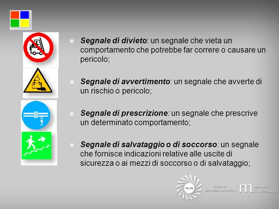 Segnale di divieto: un segnale che vieta un comportamento che potrebbe far correre o causare un pericolo;