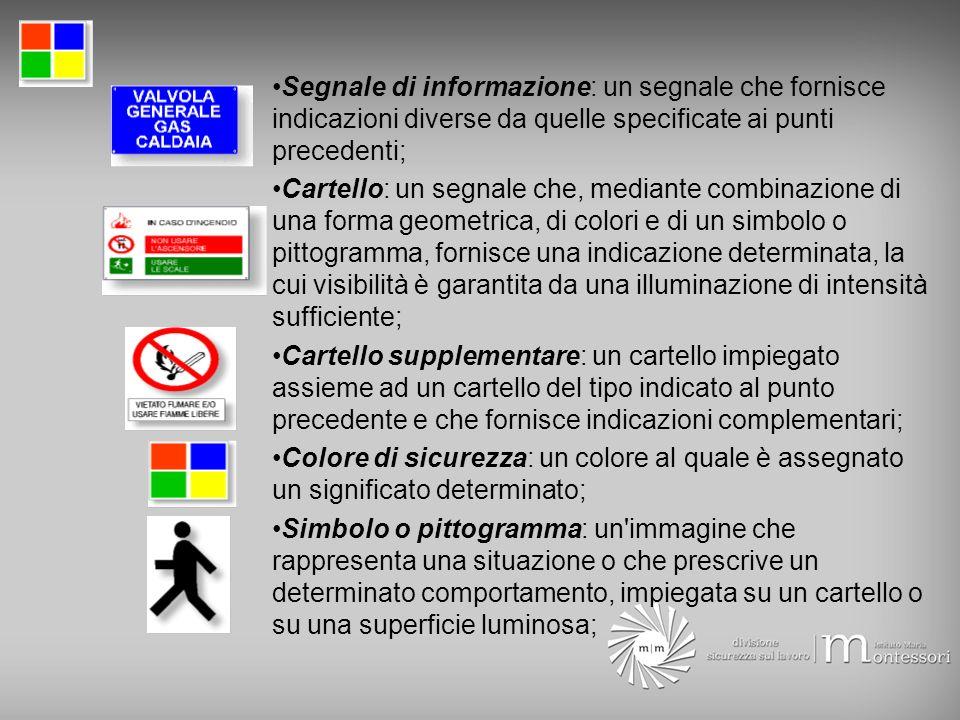 Segnale di informazione: un segnale che fornisce indicazioni diverse da quelle specificate ai punti precedenti;