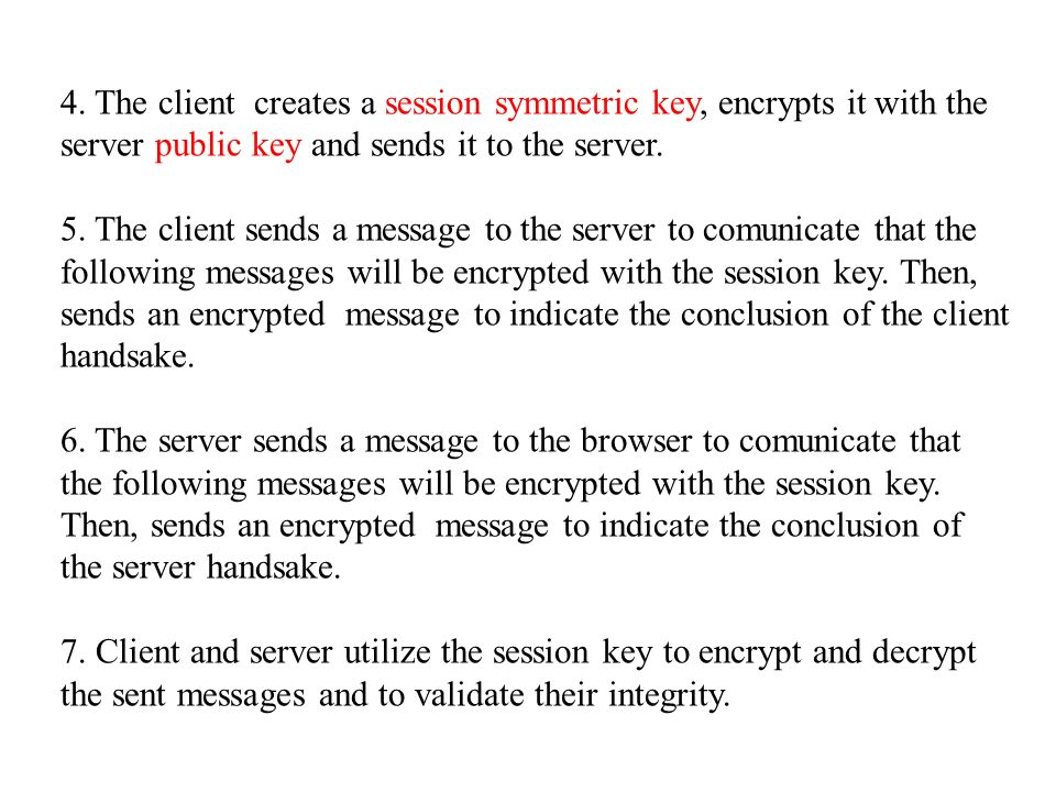 4. The client creates a session symmetric key, encrypts it with the server public key and sends it to the server.