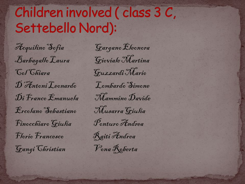 Children involved ( class 3 C, Settebello Nord):