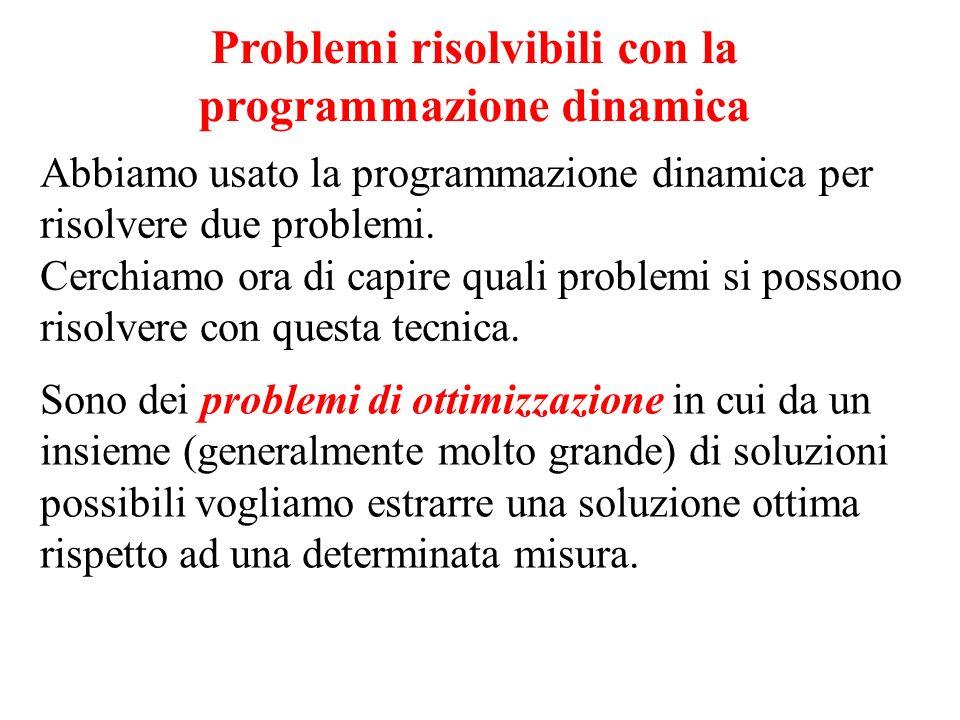 Problemi risolvibili con la programmazione dinamica