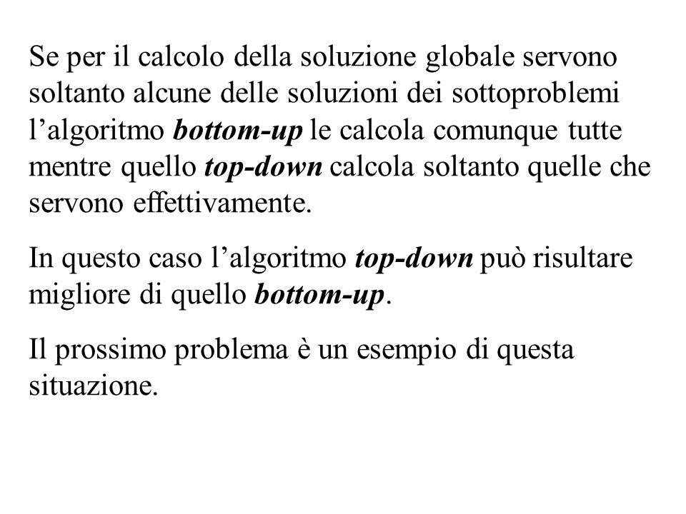 Se per il calcolo della soluzione globale servono soltanto alcune delle soluzioni dei sottoproblemi l'algoritmo bottom-up le calcola comunque tutte mentre quello top-down calcola soltanto quelle che servono effettivamente.