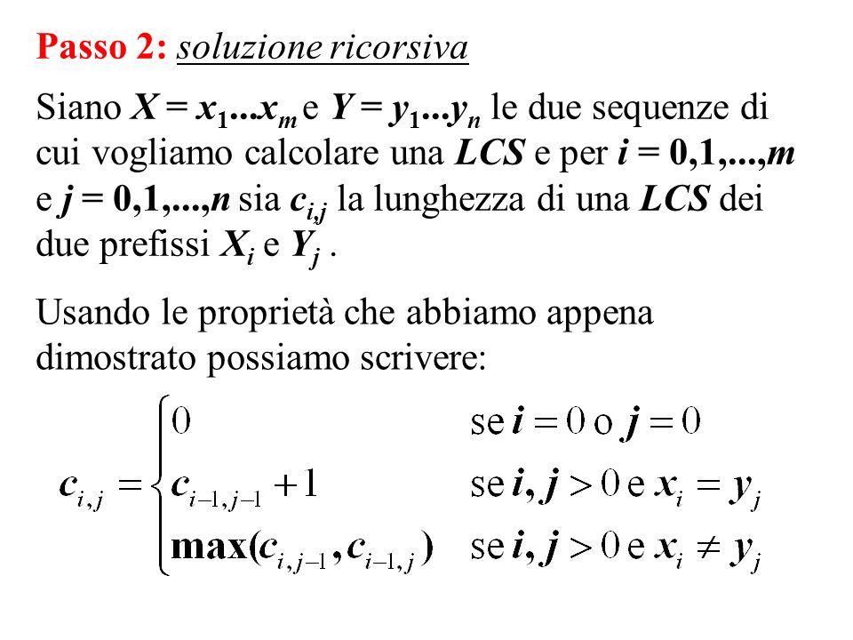 Passo 2: soluzione ricorsiva