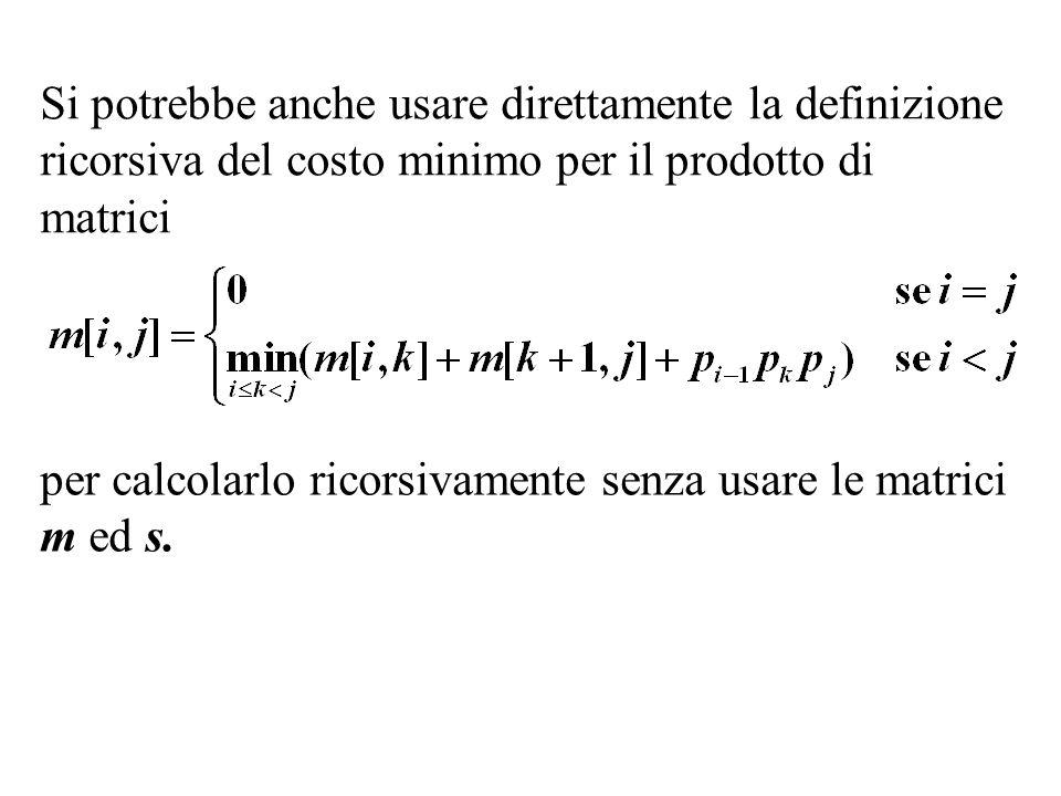 Si potrebbe anche usare direttamente la definizione ricorsiva del costo minimo per il prodotto di matrici