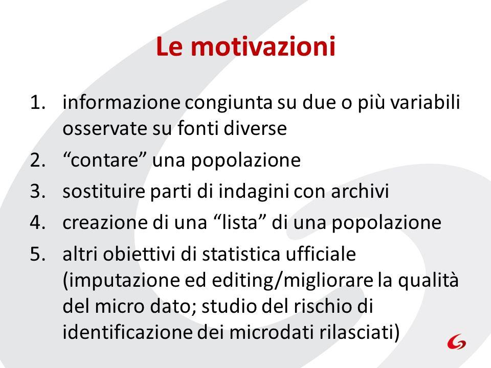 Le motivazioni informazione congiunta su due o più variabili osservate su fonti diverse. contare una popolazione.