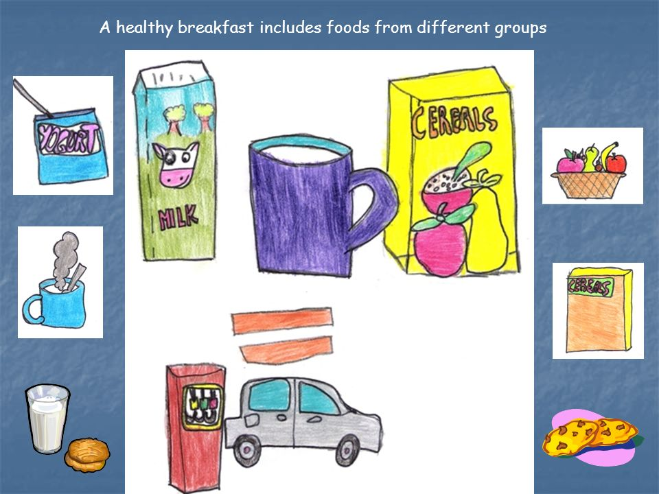 A healthy breakfast includes foods from different groups