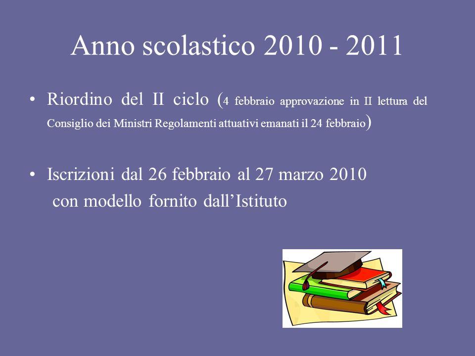 Anno scolastico 2010 - 2011