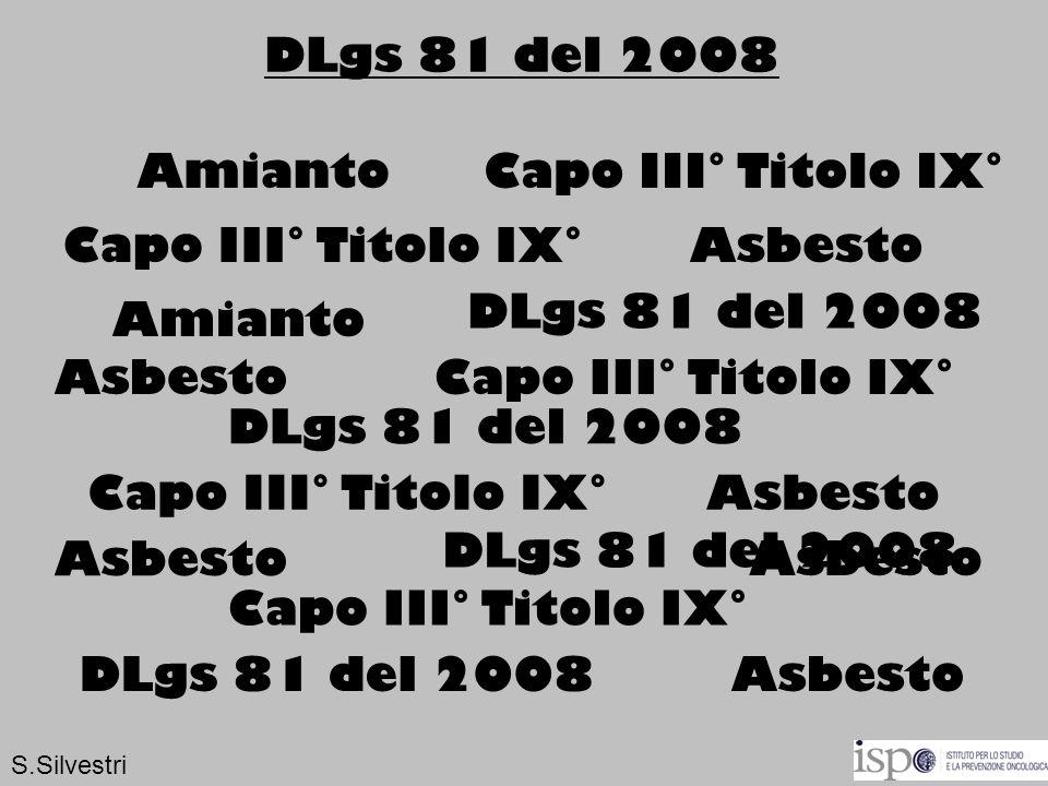 DLgs 81 del 2008 Amianto Capo III° Titolo IX° Capo III° Titolo IX°