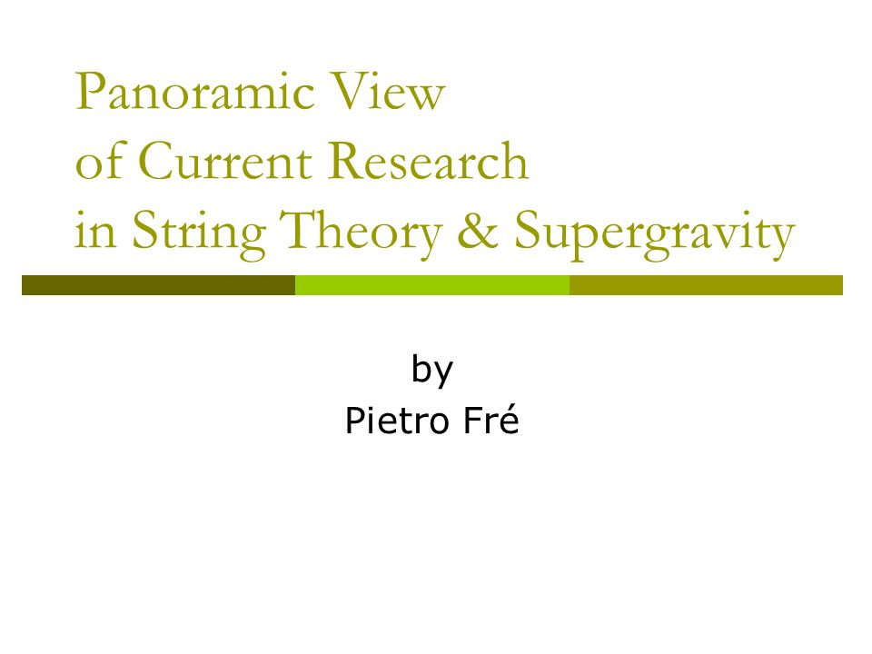 Panoramic View of Current Research in String Theory & Supergravity