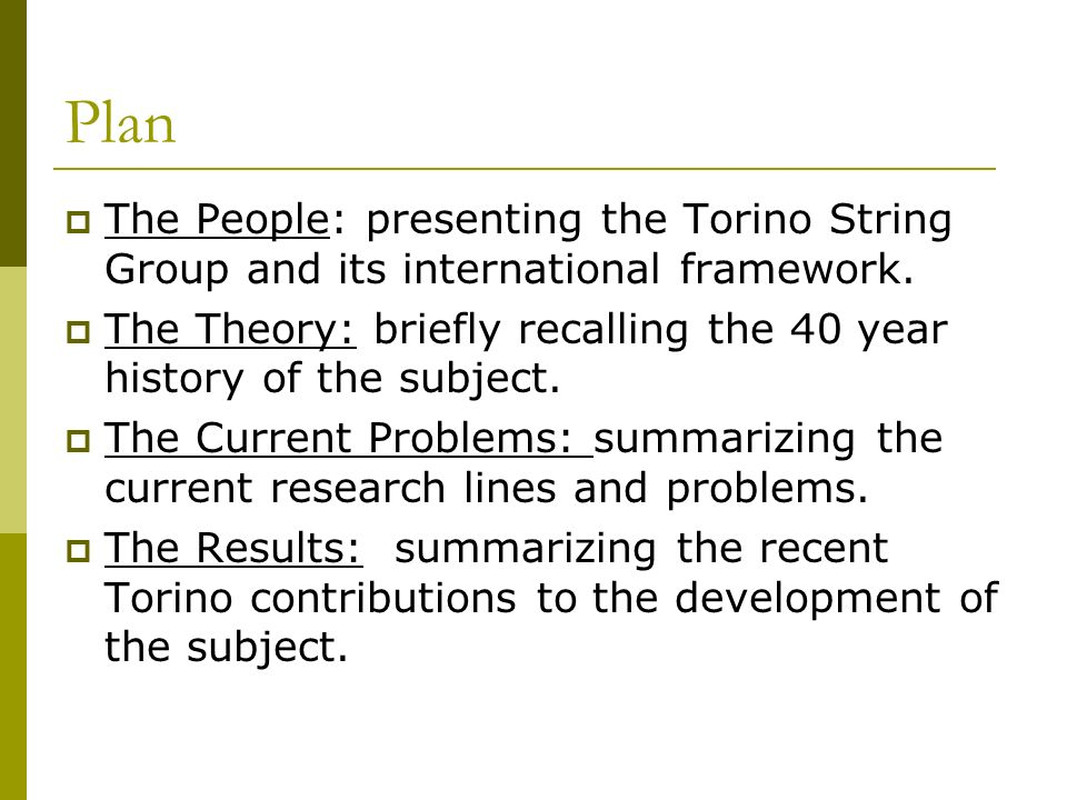 Plan The People: presenting the Torino String Group and its international framework.