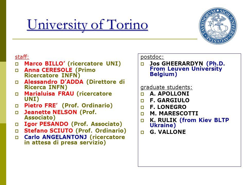 University of Torino staff: Marco BILLO' (ricercatore UNI)