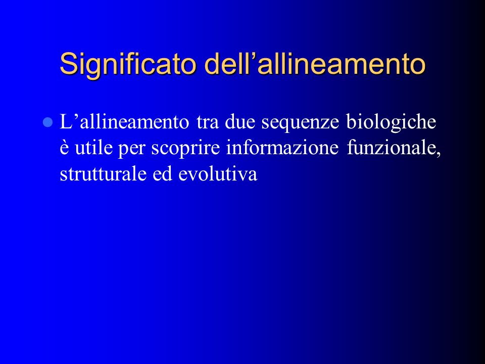 Significato dell'allineamento