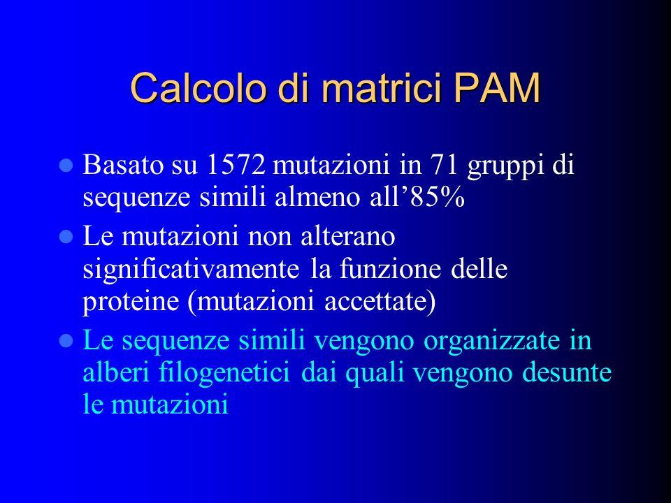 Calcolo di matrici PAM Basato su 1572 mutazioni in 71 gruppi di sequenze simili almeno all'85%