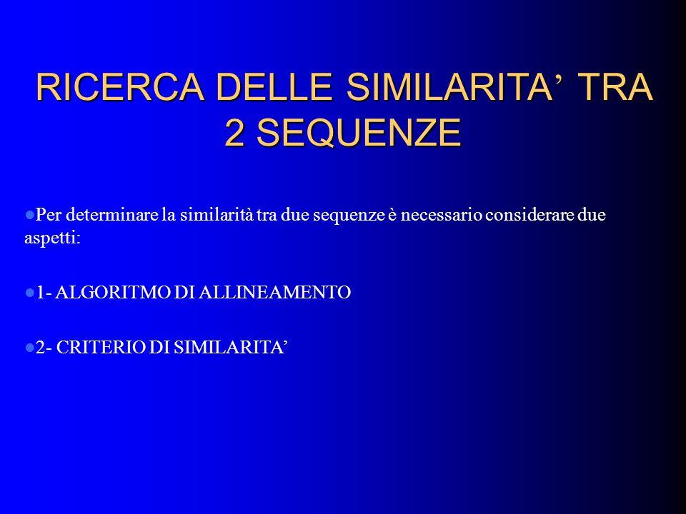 RICERCA DELLE SIMILARITA' TRA 2 SEQUENZE
