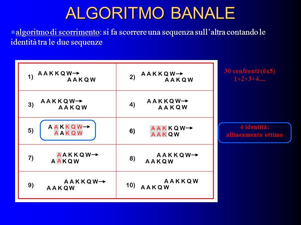 ALGORITMO BANALE algoritmo di scorrimento: si fa scorrere una sequenza sull'altra contando le identità tra le due sequenze.