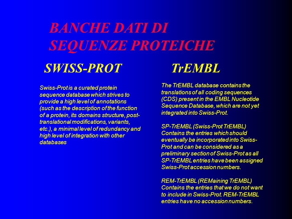 BANCHE DATI DI SEQUENZE PROTEICHE