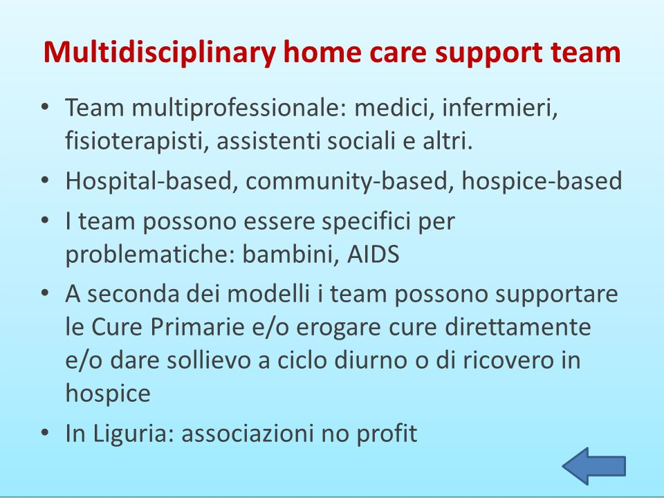 Multidisciplinary home care support team