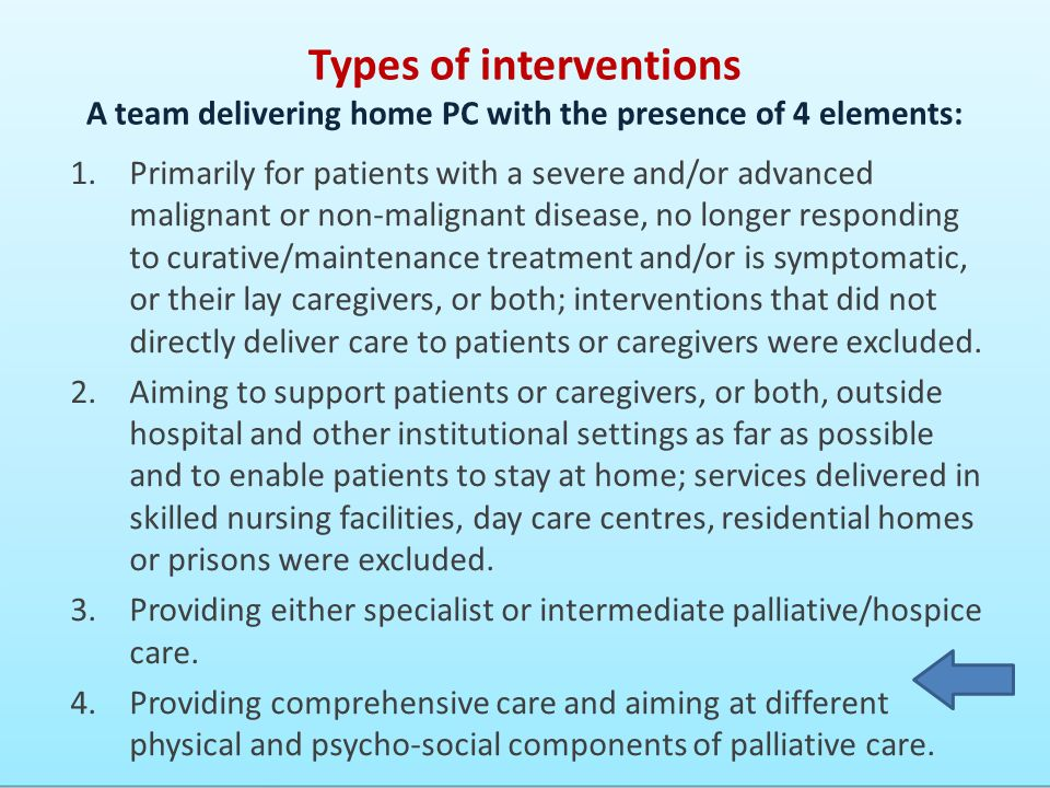 Types of interventions A team delivering home PC with the presence of 4 elements: