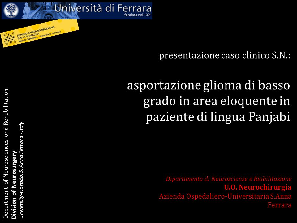 asportazione glioma di basso grado in area eloquente in
