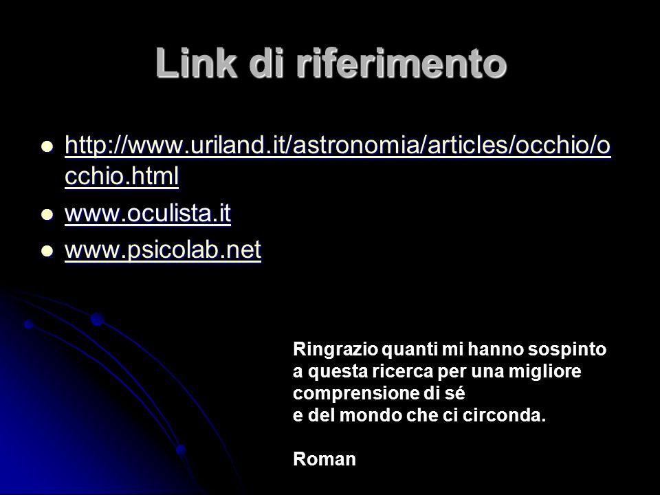 Link di riferimento http://www.uriland.it/astronomia/articles/occhio/occhio.html. www.oculista.it.