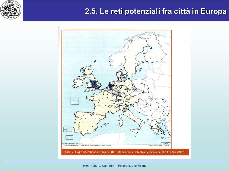 2.5. Le reti potenziali fra città in Europa