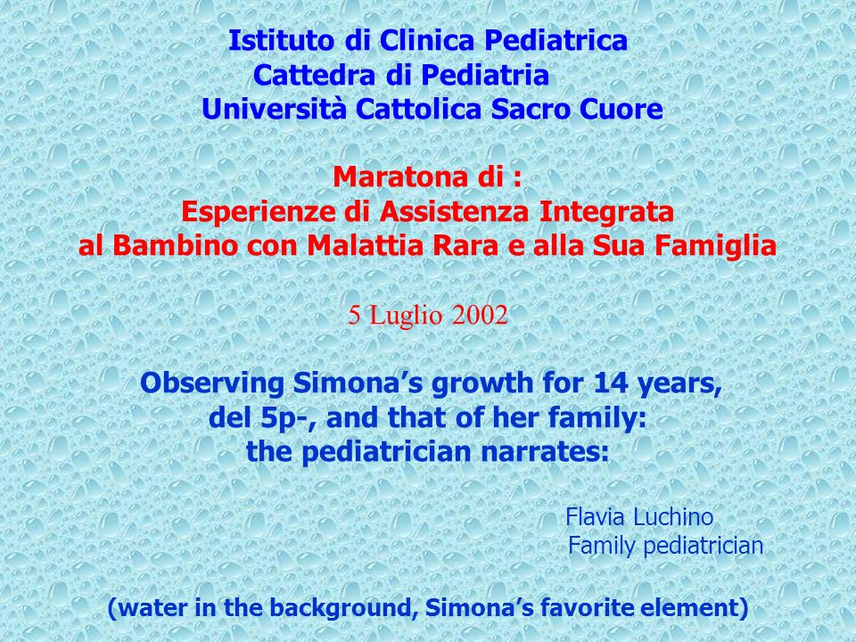 Istituto di Clinica Pediatrica Cattedra di Pediatria