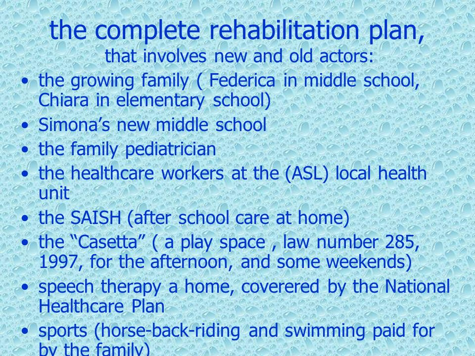 the complete rehabilitation plan,