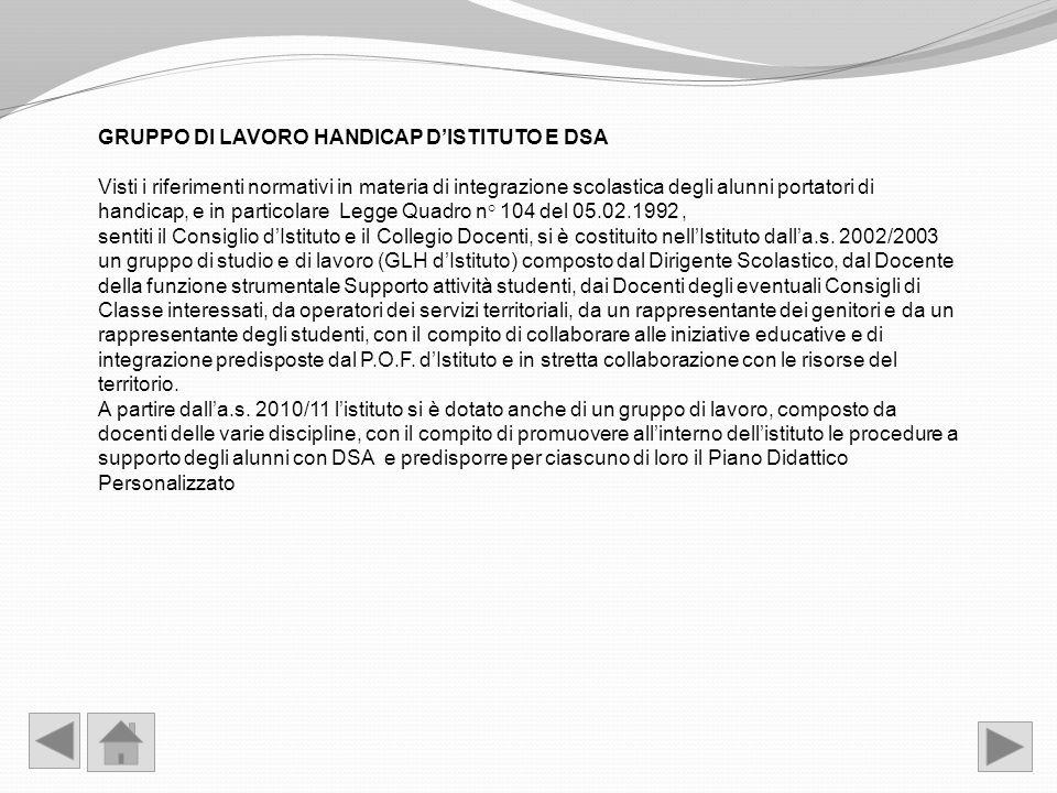 GRUPPO DI LAVORO HANDICAP D'ISTITUTO E DSA
