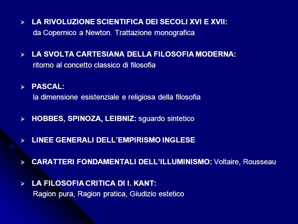LA RIVOLUZIONE SCIENTIFICA DEI SECOLI XVI E XVII: