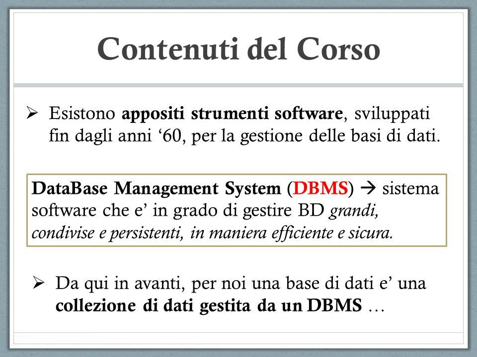 Contenuti del Corso Esistono appositi strumenti software, sviluppati fin dagli anni '60, per la gestione delle basi di dati.