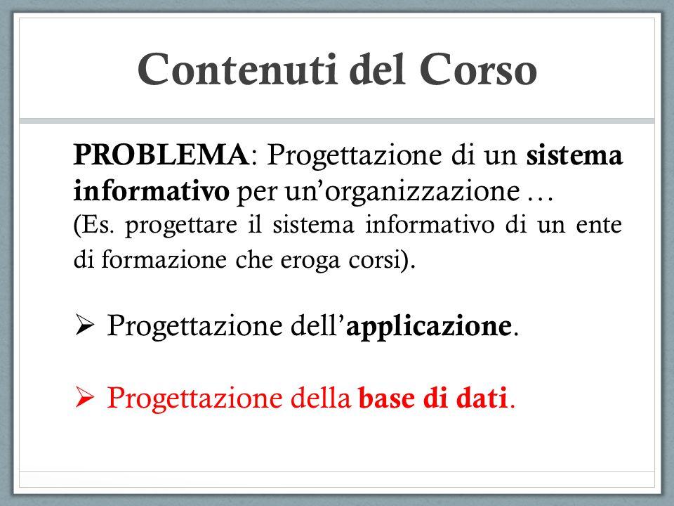 Contenuti del Corso PROBLEMA: Progettazione di un sistema informativo per un'organizzazione …