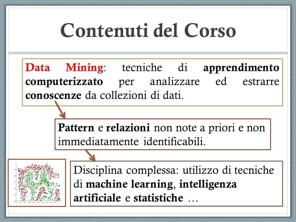 Contenuti del Corso Data Mining: tecniche di apprendimento computerizzato per analizzare ed estrarre conoscenze da collezioni di dati.
