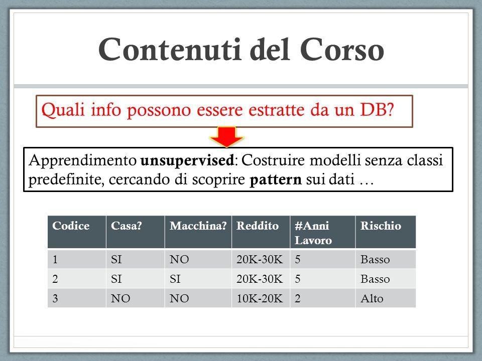 Contenuti del Corso Quali info possono essere estratte da un DB