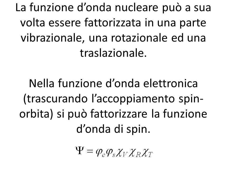 La funzione d'onda nucleare può a sua volta essere fattorizzata in una parte vibrazionale, una rotazionale ed una traslazionale.