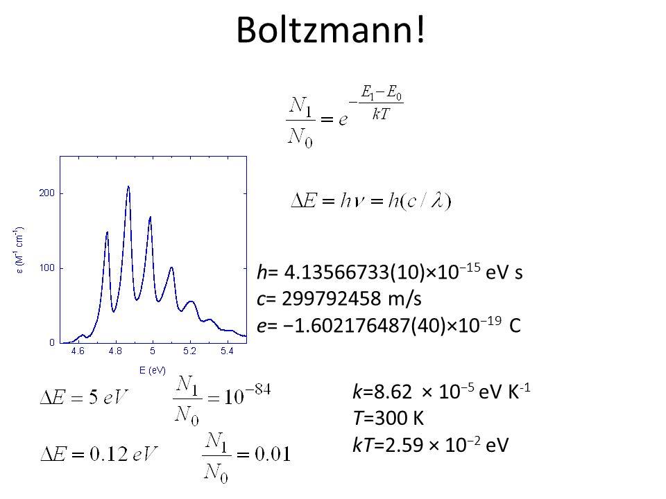 Boltzmann! h= 4.13566733(10)×10−15 eV s c= 299792458 m/s