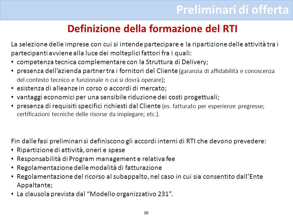 Definizione della formazione del RTI