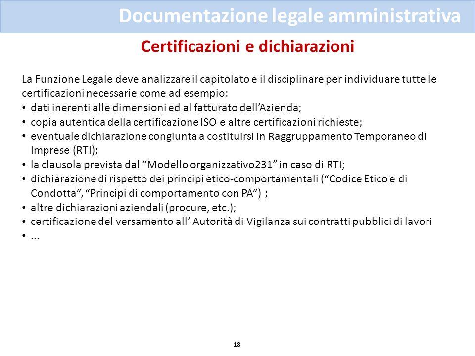 Certificazioni e dichiarazioni