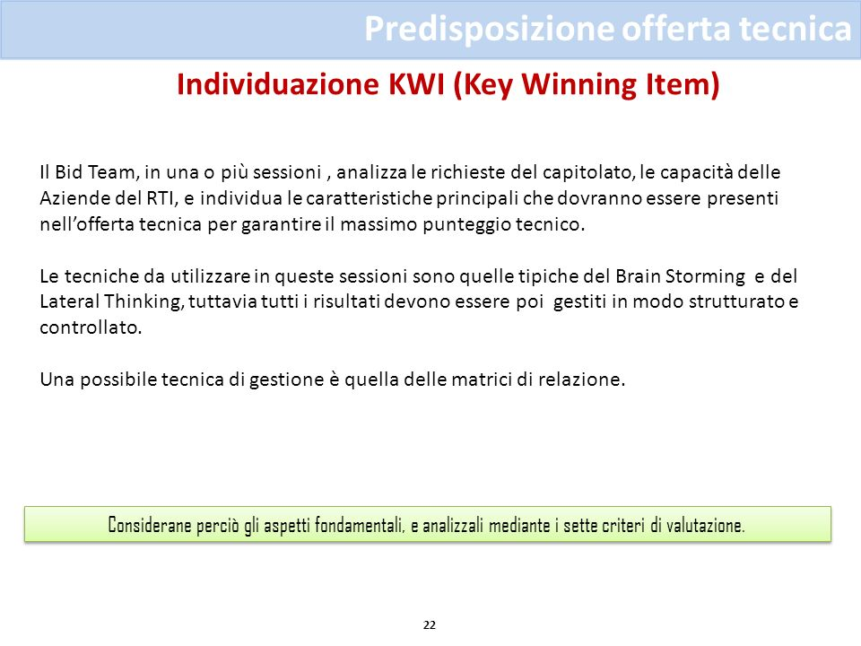 Individuazione KWI (Key Winning Item)