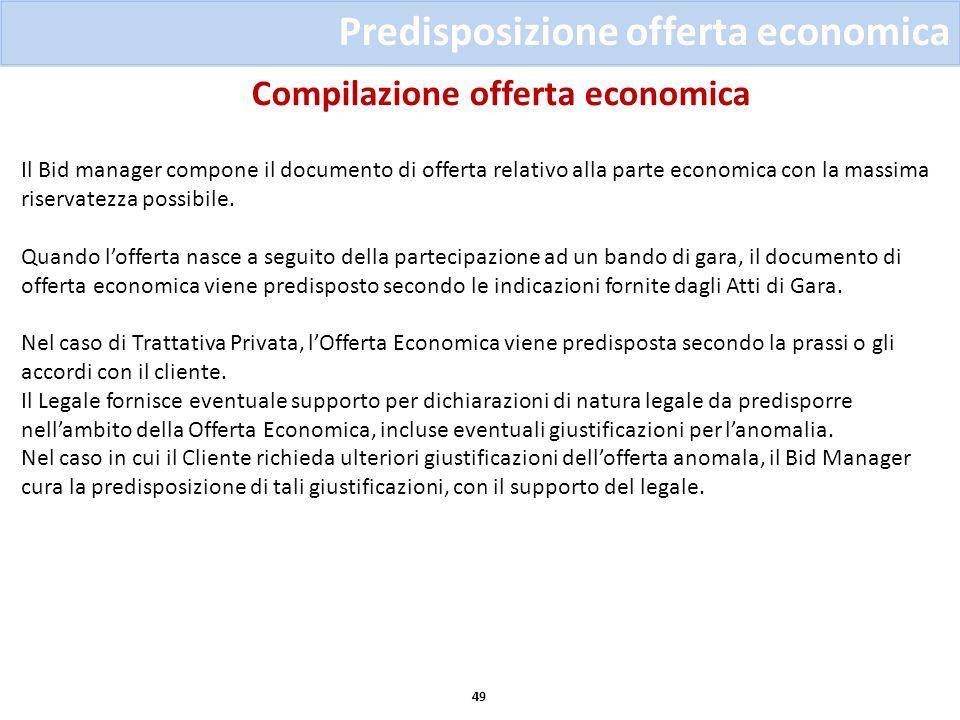 Compilazione offerta economica