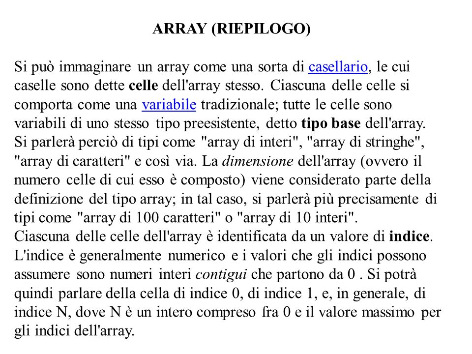 ARRAY (RIEPILOGO)