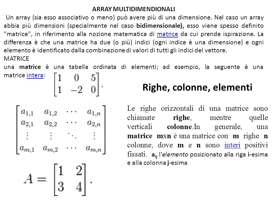 ARRAY MULTIDIMENDIONALI