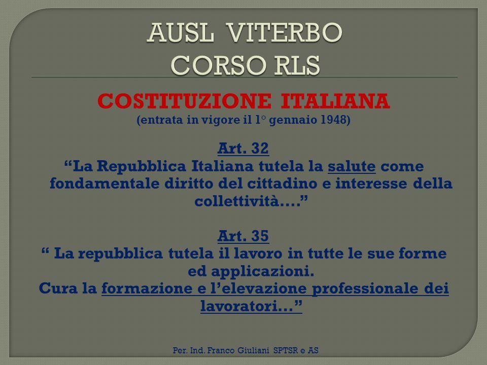 AUSL VITERBO CORSO RLS COSTITUZIONE ITALIANA Art. 32