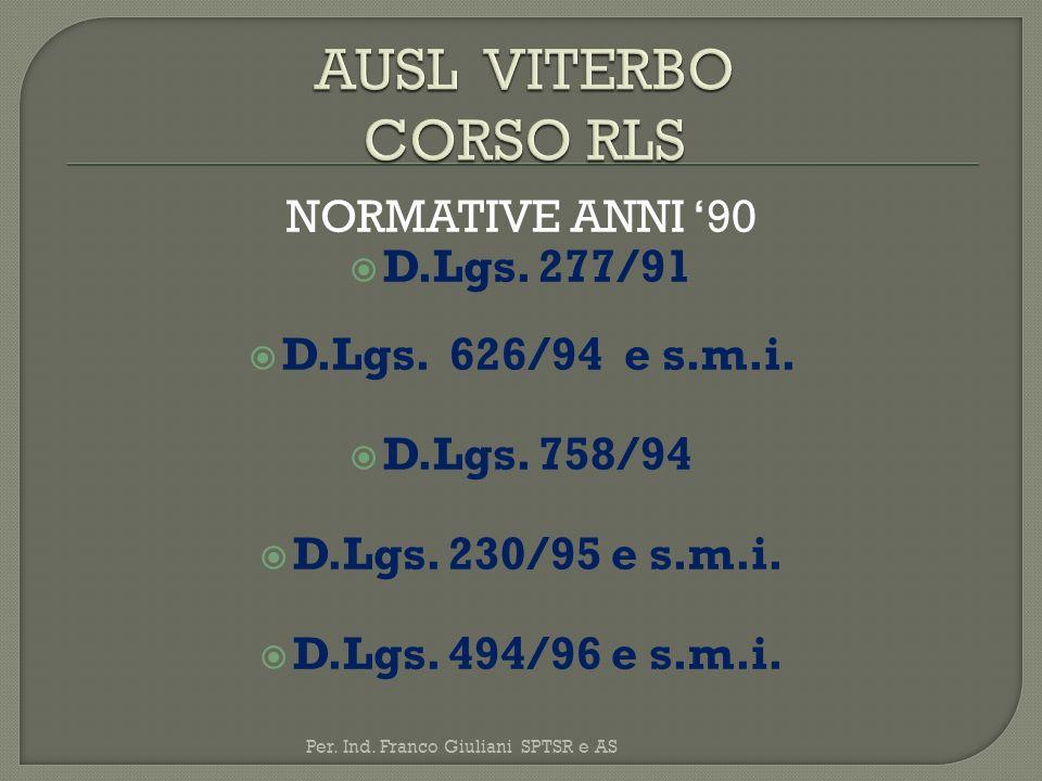 AUSL VITERBO CORSO RLS NORMATIVE ANNI '90 D.Lgs. 277/91