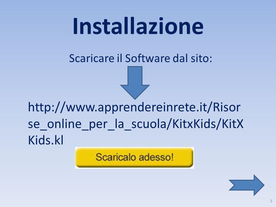 Installazione Scaricare il Software dal sito: http://www.apprendereinrete.it/Risorse_online_per_la_scuola/KitxKids/KitXKids.kl.