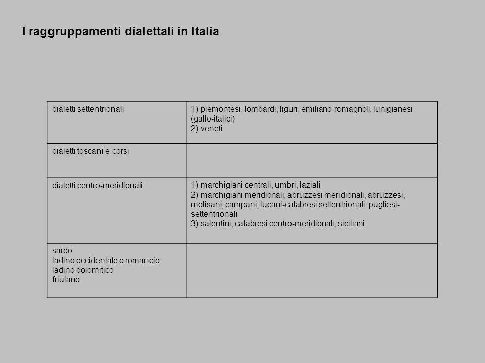 I raggruppamenti dialettali in Italia