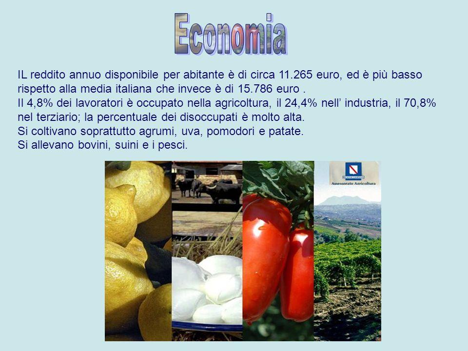 Economia IL reddito annuo disponibile per abitante è di circa 11.265 euro, ed è più basso rispetto alla media italiana che invece è di 15.786 euro .